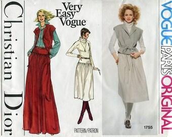 FREE US SHIP Vogue 1755 Vintage Retro 1970s 70s Paris Original Designer Christian Dior Top Skirt Maxi Uncut Sewing Pattern Size 10 ff