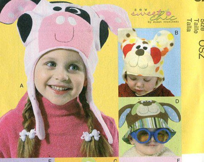 FREE US SHIP Sewing Pattern McCall's 6616 costume Baby Kids Novelty Animal Hats Fleece New Condition Dog Bear Pig Cat Whimsical