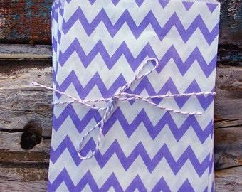 Lavender Chevron Paper Treat Bags - (12 pcs) - TBCV-LV