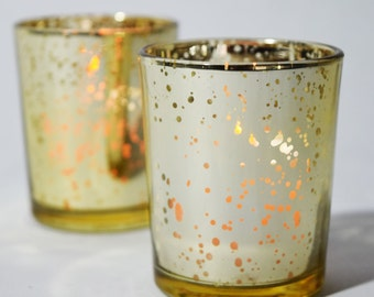 Mercury Glass Votive Tealight Candle Holder - Gold (2.5 INCHES) (6 PACK) Item TLMC-GD6