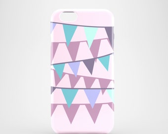 Lilac Bunting phone case / pastel glossy case / ladies iPhone 7 case / 7 Plus / iPhone 6, 6S, iPhone 5/5S, Samsung Galaxy S7, Galaxy S6 / S5