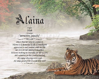 Tiger Personalized Name Meaning Print