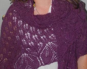 Knit shawl, purple shawl, wrap shawl, handmade shawl, triangle shawl, lace shawl