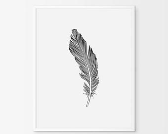 Feather Print,Feather Wall Art,Black Feather,Wall Prints,Feather Art,Wall Art,Digital Download,Home Decor,Printable Art,Bohemian Wall Art