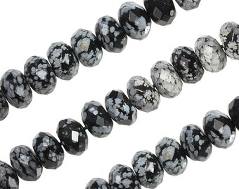 16 IN Strand 4 mm Snowflake Obsidian Rondelle Faceted Gemstone Beads (SFJRLF0004)