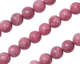 15 1/2 IN Strand 10 mm Rhodonite Round Smooth Gemstone Beads (RH100104)