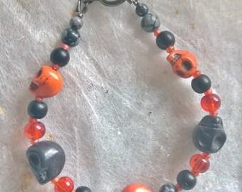 Skull Bracelet - Black and Orange
