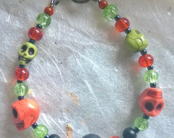 Skull Bracelet - Black, Green and Orange