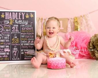 Gold/Pink Shabby Fabric Garland, Fabric Garland, Fabric banner