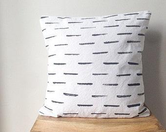 Modern Pillow Cover - Canvas Drop Cloth Dash Modern Pattern