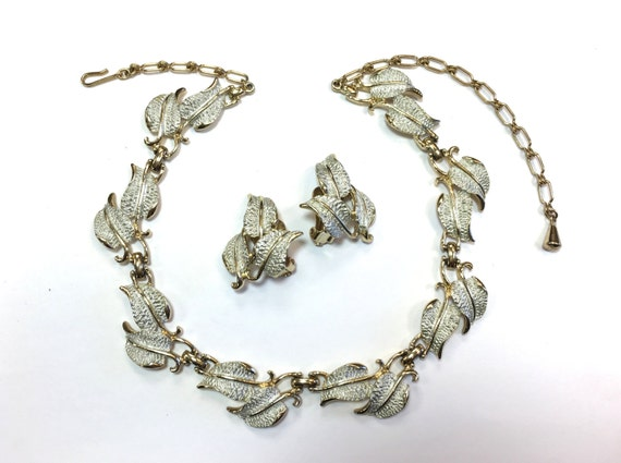 items similar to 60s silver leaf jewelry set gold and