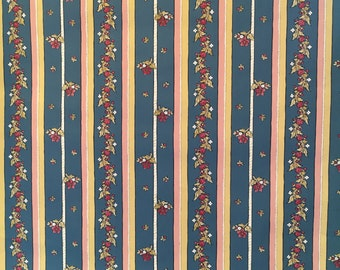 25% off SALE! Motif Vintage Wallpaper Blue Floral Stripe Pink Yellow