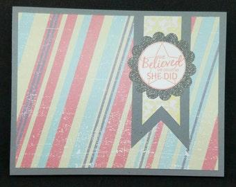 Pop-up gift card holder, girl encouragement card, woman encouragement card, new job card, cancer remission card, IR4, I Run for Michael