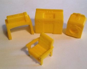 Marx Superior Yellow Laundry Room-Vintage Plastic Dollhouse Furniture 1:12