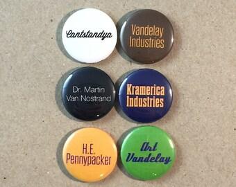 Seinfeld Art Vandelay Kramerica Cantstandya Dr. Martin Van Nostrand Fan Art 5 - 1 Inch Button Set