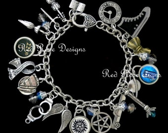 Superwholock Themed Charm Bracelet, Supernatural, Dr Who, Sherlock, Doctor Who