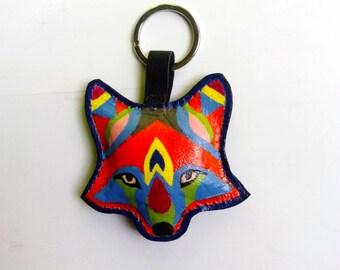Fox leather charm rainbow color