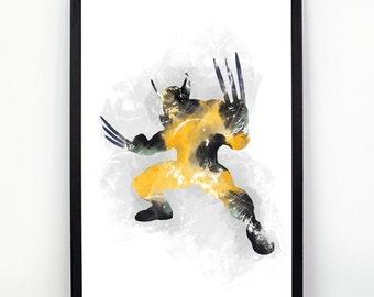 X Men, Wolverine fan Art, Watercolor alternative poster, Watercolor Art, Nursery Print, Nursery Wall Art,