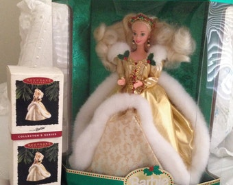 Holiday Barbie and 2 Matching Ornaments - 1994