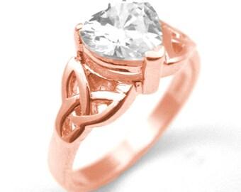 14ct Rose Gold Heart Shaped Trinity Knot 1ct Diamond Ring (SS216)