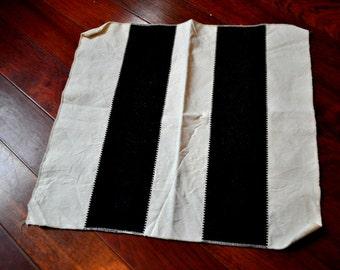 Vintage 1970s Black and White Linen Tea Towel
