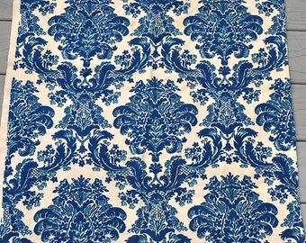 Vintage 1980s Cobalt Blue Damask Pattern Curtain