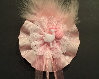 Pink or Blue Baby Stork Capias/Guess Corsage