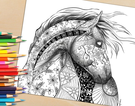 Adult Coloring Page From Book For Adults Horse Equine Art