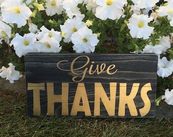 Give Thanks Metallic Sign