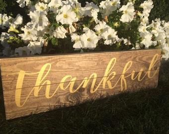 Thankful Metallic Sign