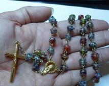 NEW UNIQUE Multi-coloured Lampwork Bead Handmade Rosary