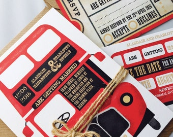 Vintage Red Bus - Wedding Stationery Set