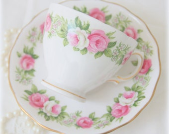 Colclough Bone China Cup and Saucer Pink Rose Pattern, Made in England