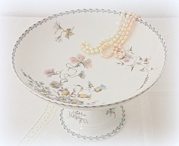 Rare Antique French Hache & Pepin LeHalleur Cake Pedestal/Cake Stand, Delicate Flower Decor