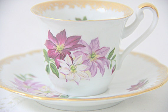 Vintage Rheinphalz Harz Porcelain Demitasse Cup and Saucer, Small Teacup and Saucer, Purple Flower Decor, Germany