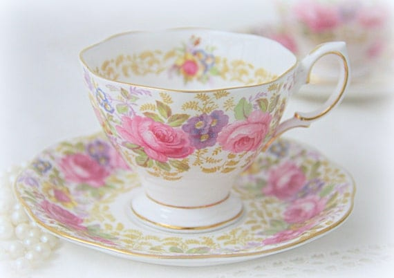 Set of 2 Vintage Royal Albert 'Serena' Lady Size Cup and Saucers, Pink Multicolored Flower Design, England