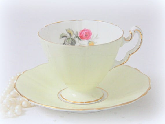 Vintage Royal Adderley English Teacup and Saucer Demitasse Size, Soft Yellow with Rose Decor, Gold Rimmed