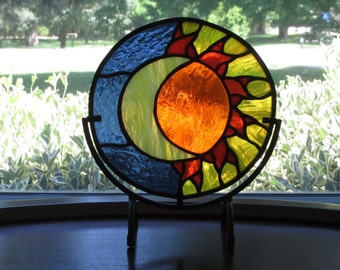 Rod Iron stands with stained glass