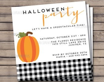 "Halloween Party Invitation, Printable File, 5.25""x5.25"" square Invitation, Pumpkin and plaid party invitation"