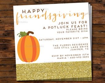 Friendsgiving Thanksgiving Potluck Dinner Party Invitation, Printable File, Square, Pumpkin and Gold Glitter, Custom, Moden Motif