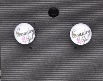 Handmade 12mm Country Girl stud earrings