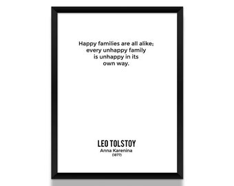 Anna Karenina Opening Lines Poster, Leo Tolstoy Poster, Book Poster, Literature Poster