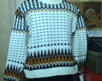 Vintage Ski Sweater 1970s or 1980s By EMAK Acrylic