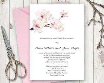 "Wedding Invitation Printable Template ""Cherry Blossom"", Pink. Sakura Wedding Invitations, Japanese Style. Instant Download. MS Word Template"
