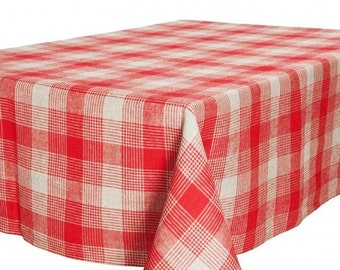 Linen Tablecloth, Red, Grey linen table top, Linen table cover, Christmas Tablecloth