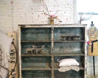 Painted Cottage Prairie Chic Chippy One of a Kind Farmhouse Bookcase