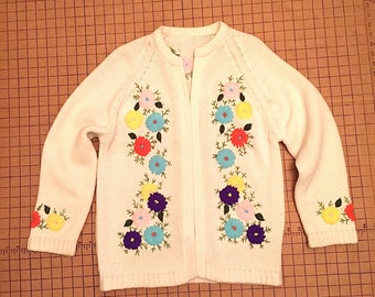 Vintage 1960s Embroidered Open Front Cardigan