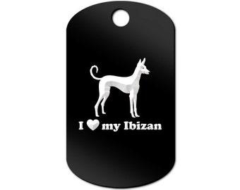 I Love My Ibizan Engraved GI Tag Key Chain Dog Tag v2 hound - MDT-760