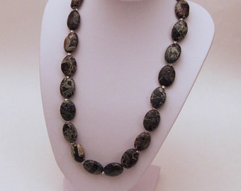 Snakeskin Jasper and Silver Necklace
