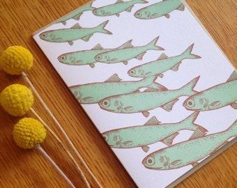 Fish Card | blank card  | greeting card | screenprint | ocean art | pattern | anchovies | mint | school of fish | birthday card | thank you
